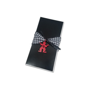 "Black Rectangle Box 9 x 4 1/2 x 2"" with acrylic monogram clown, Ribbon Sold below"