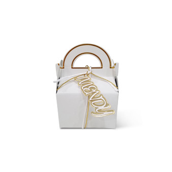 White and Gold Gable Upsherin Box with personalized two tone lasercut tag, and optional cord.