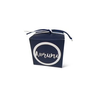 Navy Upsherin Box with Circle Lasercut tag with script name and optional cord.