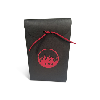 Black Linen Upsherin Box with Circle design fire tag and optional cord.