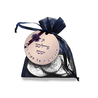 Chanukah Personalized Navy Organza Bag with Silver Coins