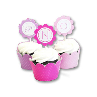 Monogram Cupcake Wrappers & Cupcake Toppers (Set of 24)