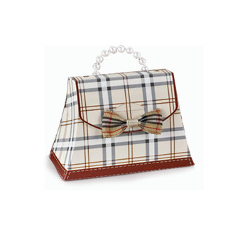 Plaid Mini Purses with Bow Ties - Beige (NEW!) Sold In Sets of 30