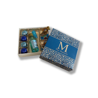 Midnight Geometric Pebbles Mishloach Manos Boxes, 4 sizes available