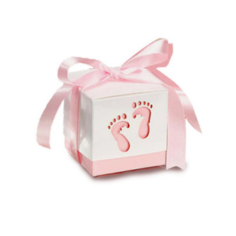 Baby Feet Favor Box Pink (Set of 12)