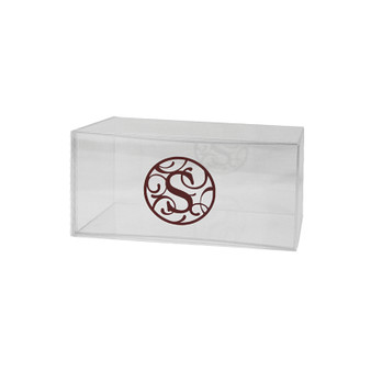 "Monogrammed 8"" x 4"" Lucite Box, Available in colors,  (Monogram is a sticker and does not come on boxes)"