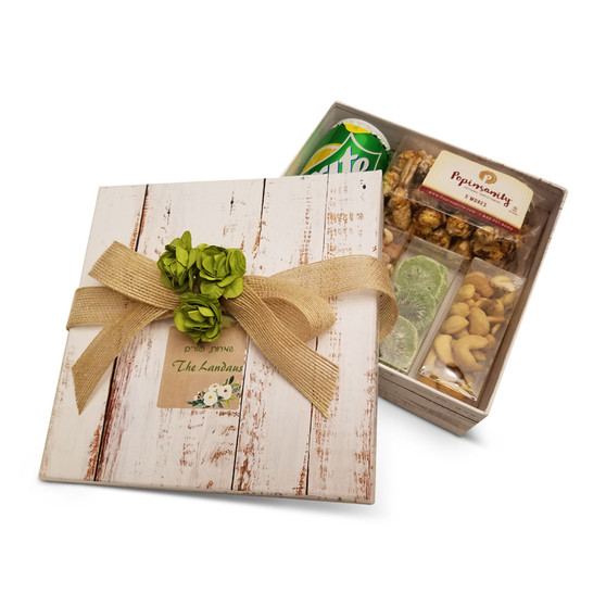 """Distressed White Wood Gourmet Gift Box, 7 3/4 x 2 1/8"""", with optional, Label & Flowers. Ribbon Sold Below."""