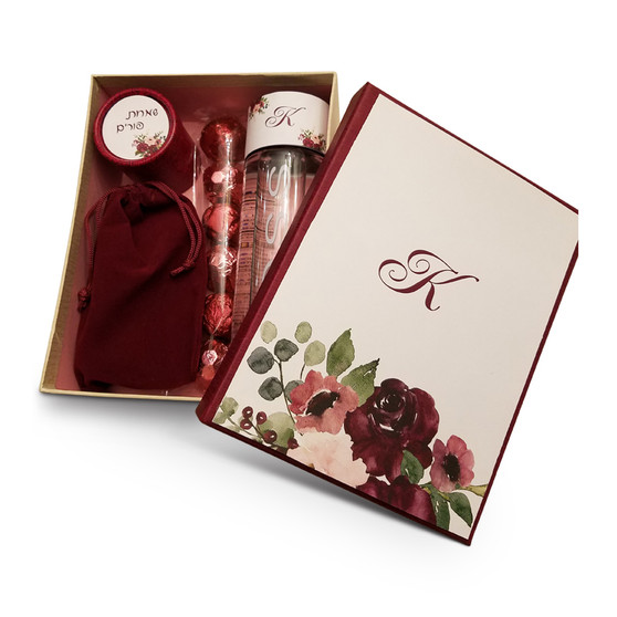 """Personalized Burgundy & Pink Floral Gift Box 8"""" x 6 1/4"""""""