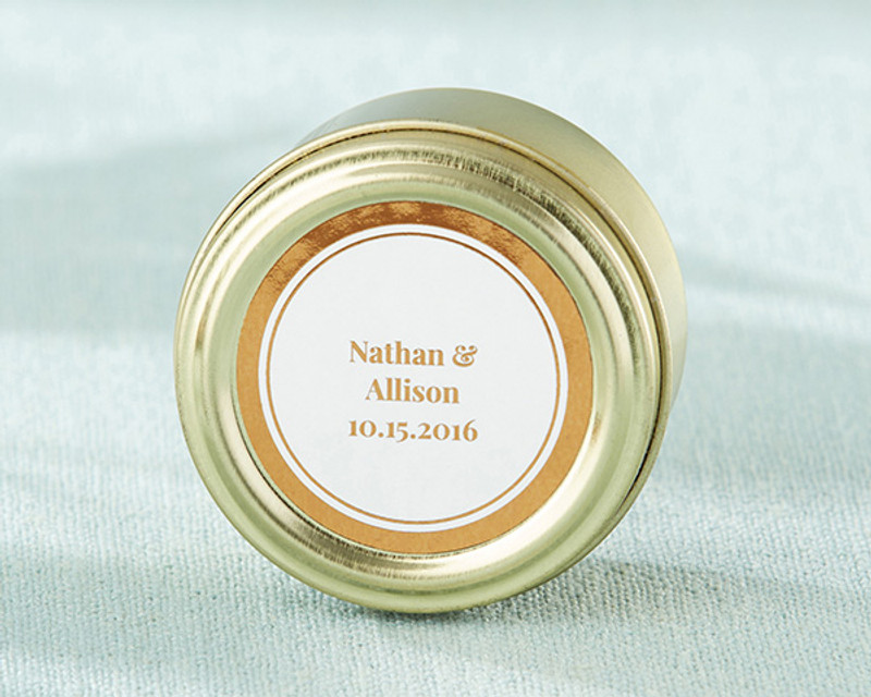Personalized Gold Round Candy Tin - Copper Foil (Set of 12)