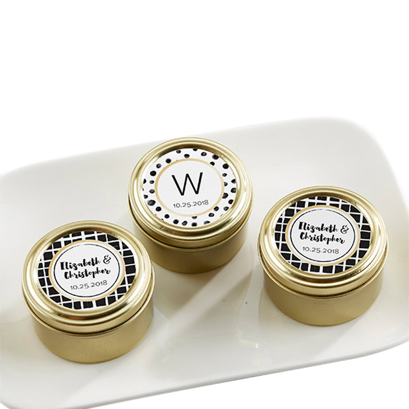 Personalized Gold Round Candy Tin - Modern Classic (Set of 12)