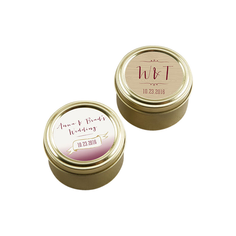 Personalized Gold Round Candy Tin - Vineyard (Set of 12)