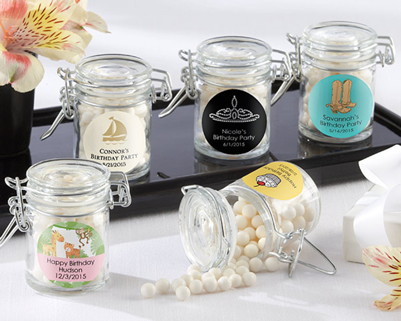 Glass Favor Jars - Birthday (Set of 12) (Available Personalized)