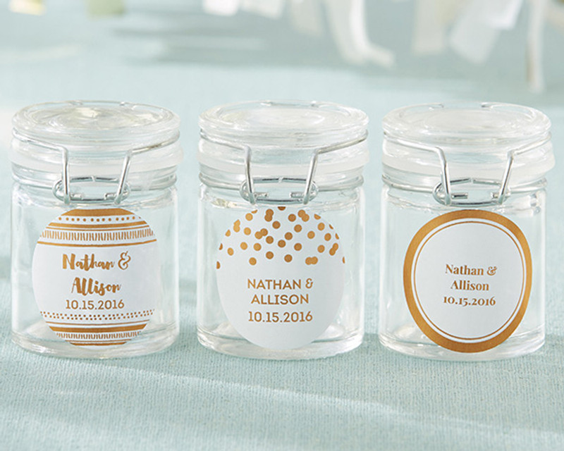 Personalized Glass Favor Jars - Copper Foil (Set of 12)