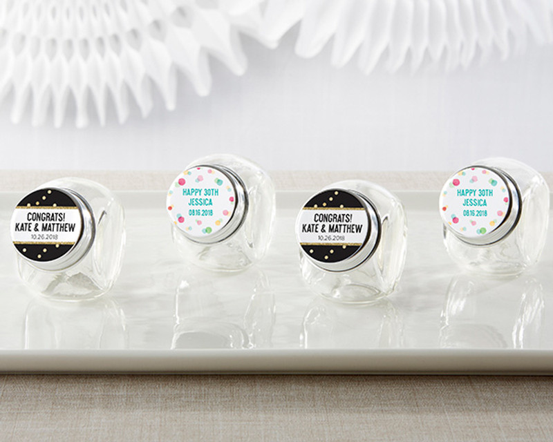 Personalized Mini Glass Favor Jars - Party Time (Set of 12)