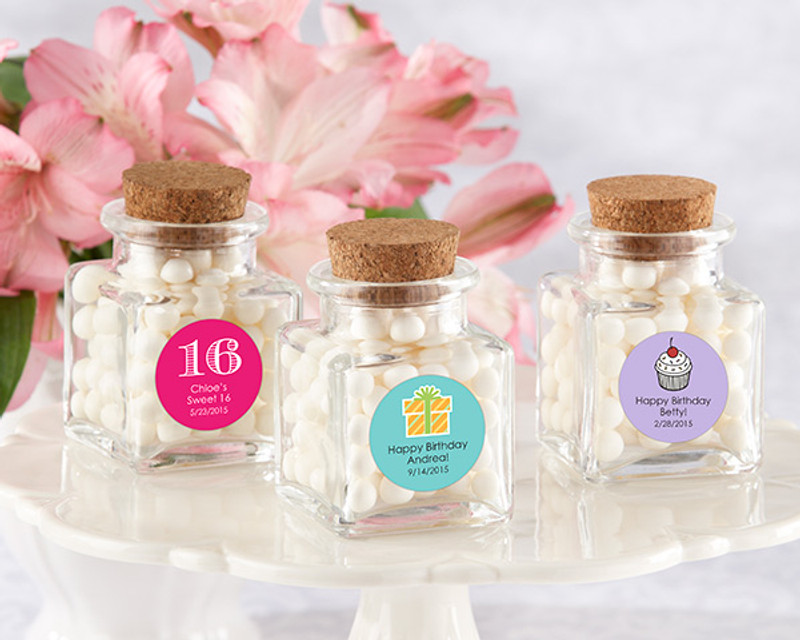 """Petite Treat"" Square Glass Favor Jar - Birthday (Set of 12) (See Description to Design your label)"