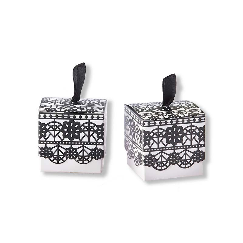 Black Lace Print Favor Box (Set of 24)