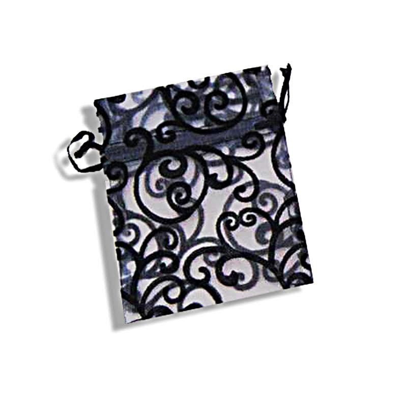 Organza with velvet swirl design bag