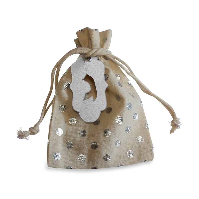 Cotton Bag with Metallic Silver Dots 3.5 x 5 & Optional Lasercut Tag