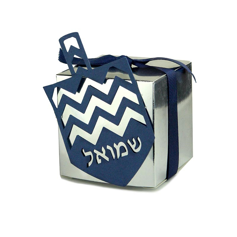 Mirror Metallic Box with Chevron Stripe Lasercut Dreidel. Size 2x2 or 3x3. 5 Colors available.