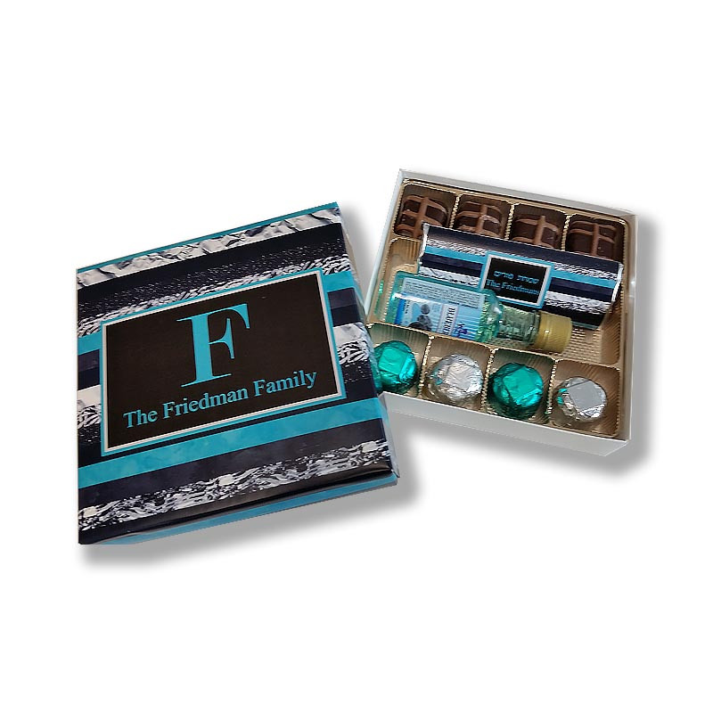Black & Teal Stripe Monogrammed Purim Box