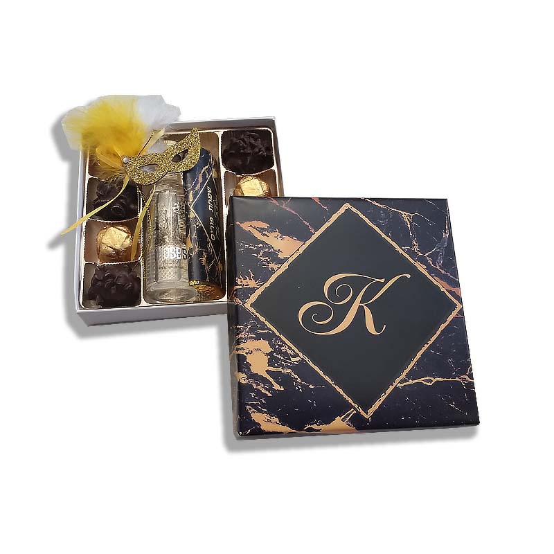 Black & Gold  Marble Design Monogrammed Purim Box