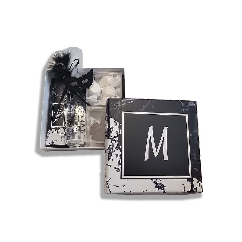 Black & White Marble Design Monogrammed Purim Box