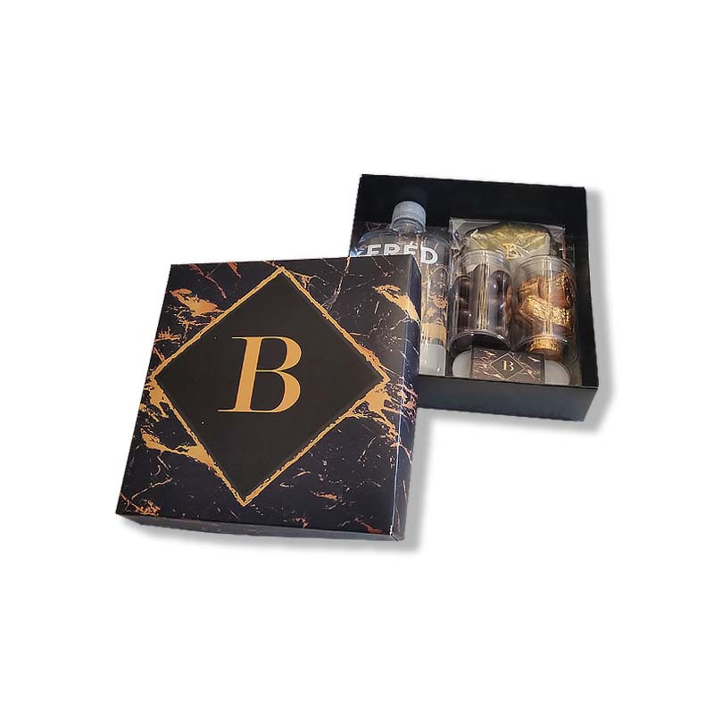 Black & Gold Marble Design Monogrammed Welcome Box