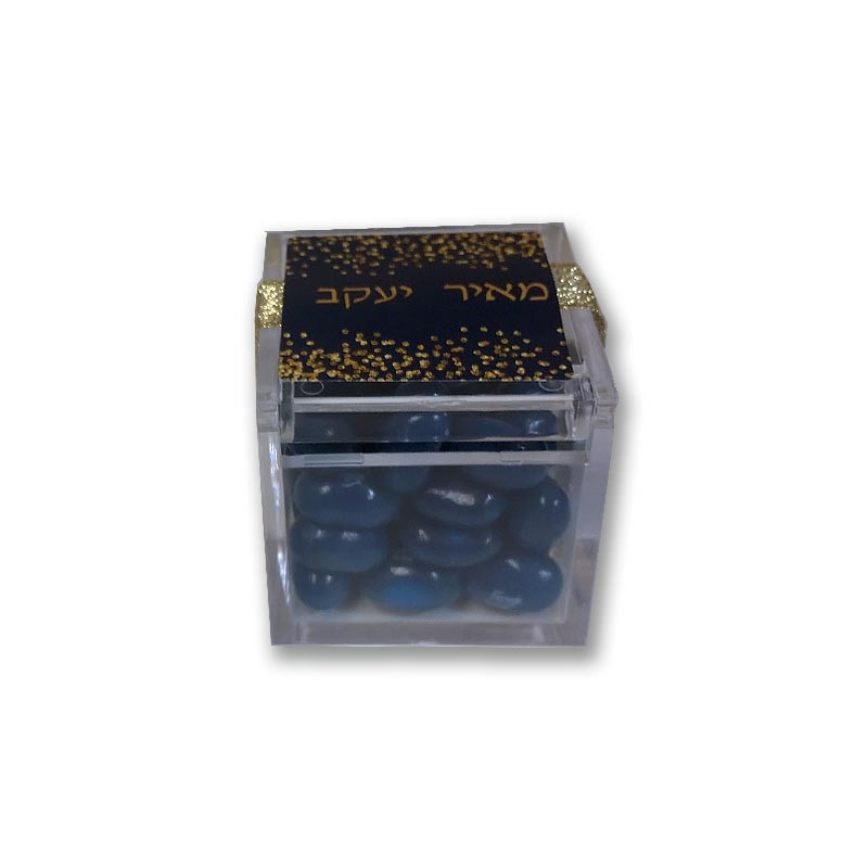 Navy  & Gold Confetti, acrylic box with gold ribbon