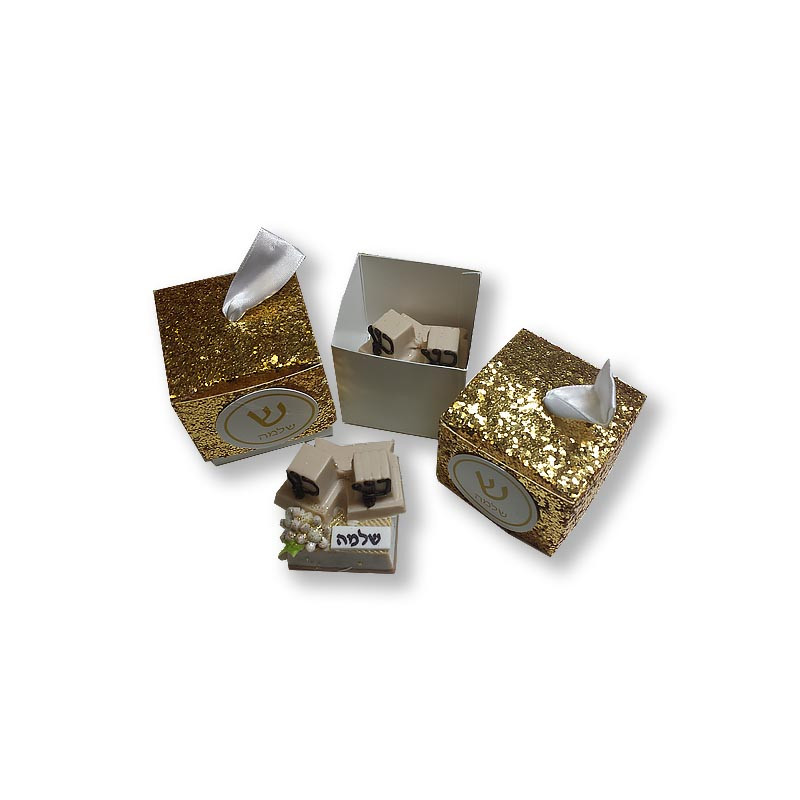 Gold Glitter Bar Mitzvah Favor Box with tag and optional chocolate