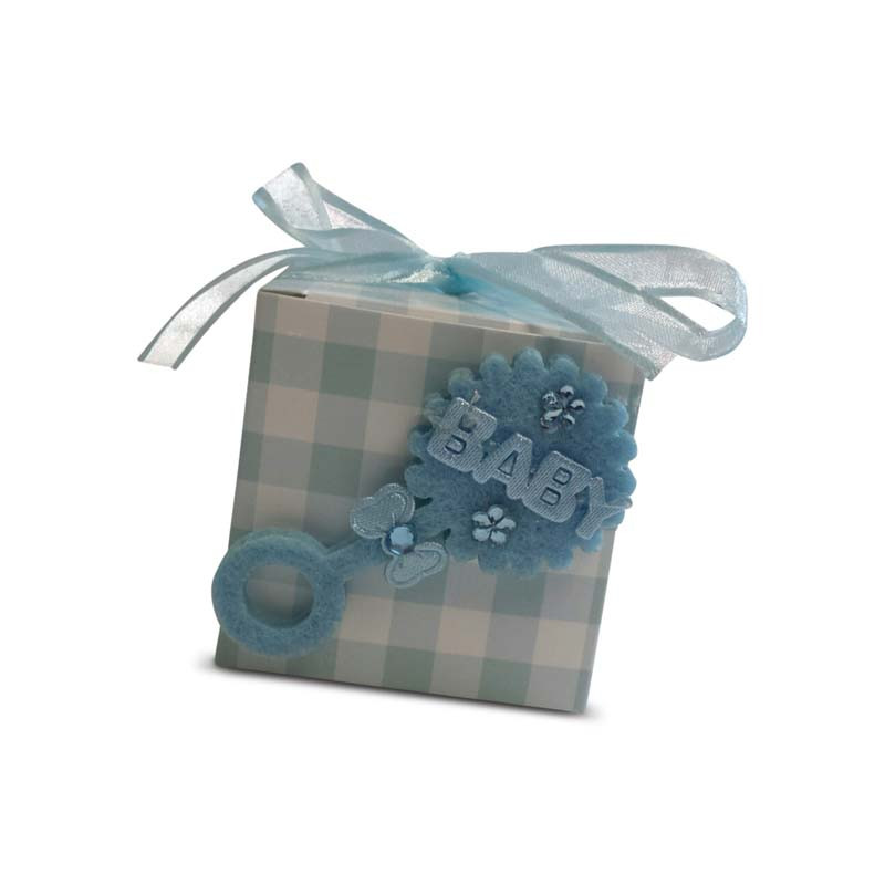 Gingham Baby Rattle Box