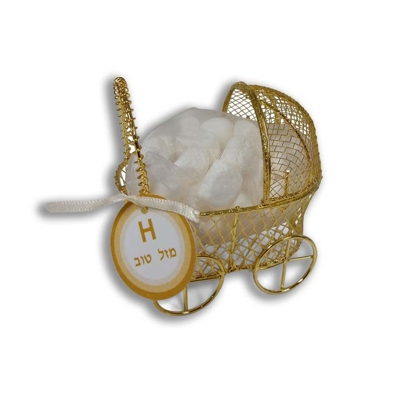 Personalized Gold or Silver Baby Carriage with optional tag