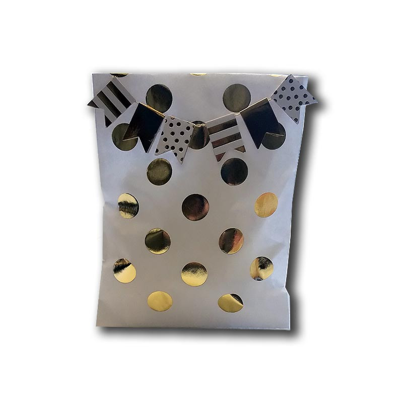 Gold dot bag with flag banner