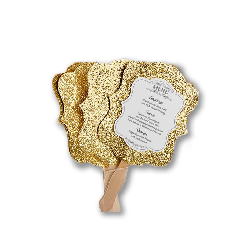 GOLD GLITTER HAND FAN MENU