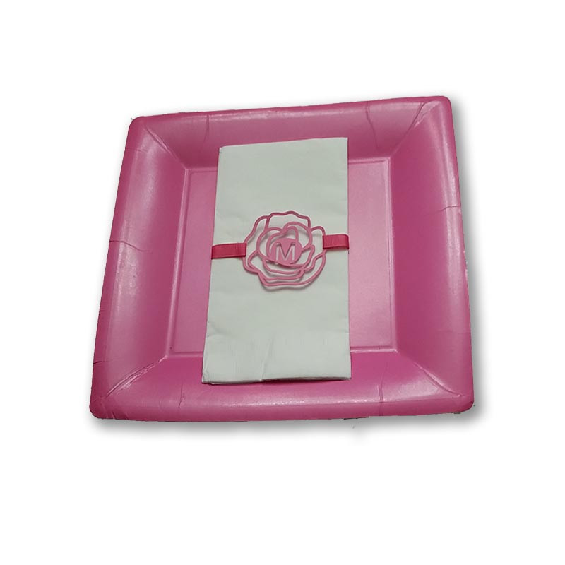 Rose napkin band or tag. Ribbon sold separately.