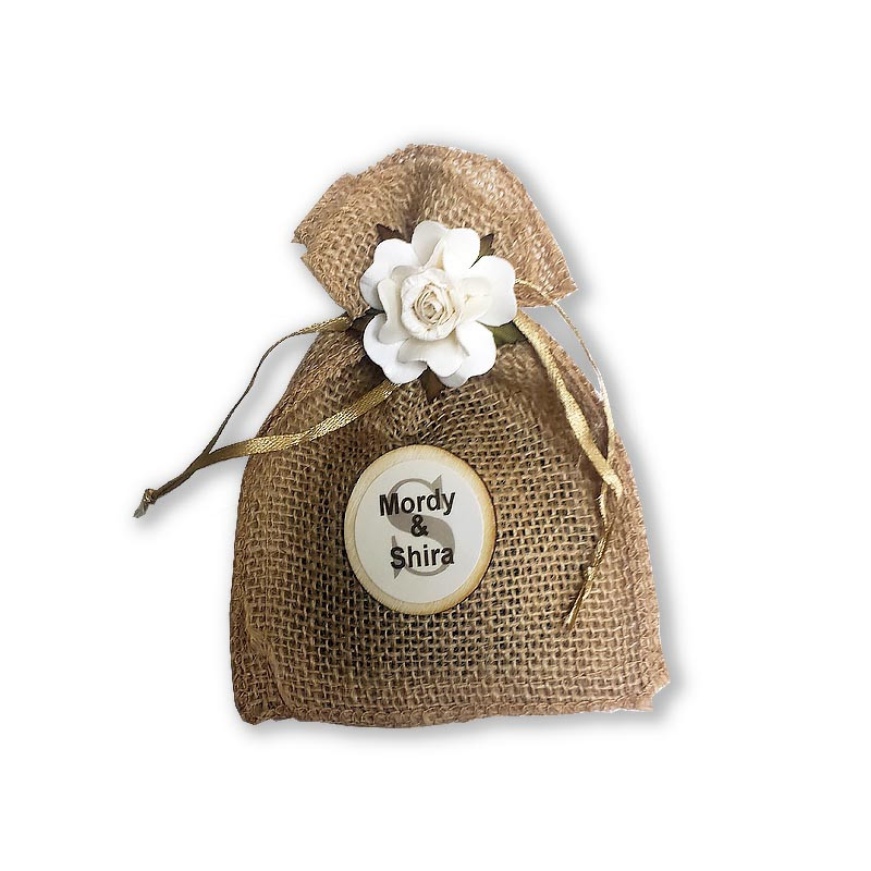 Burlap Besomim bag with flower, includes besomim & personalized labels