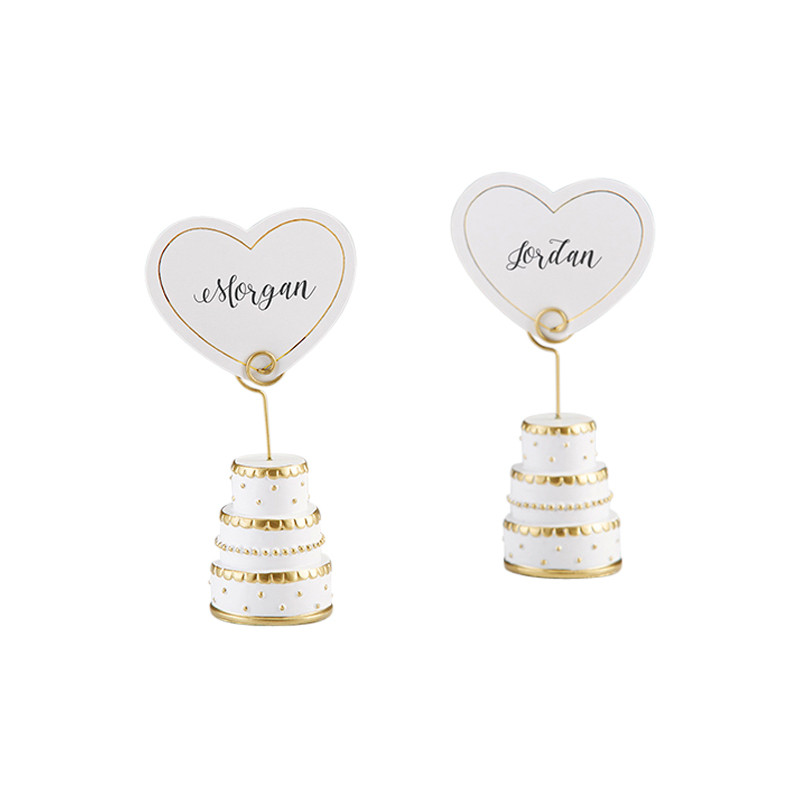 GOLD WEDDING CAKE PLACE CARD HOLDER (SET OF 6) (Custom placecards available upon request)
