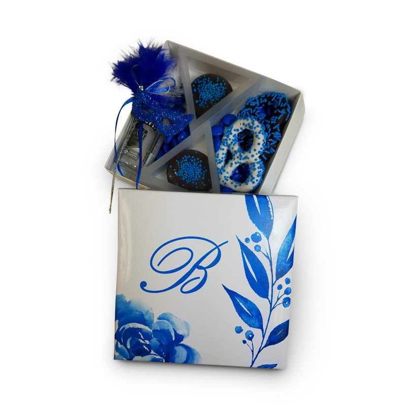 Blue Florence Monogrammed Purim Box 4 Sizes Available