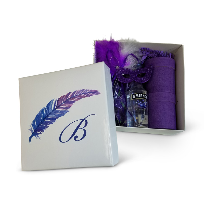Purple Feather Design Monogrammed Purim Box