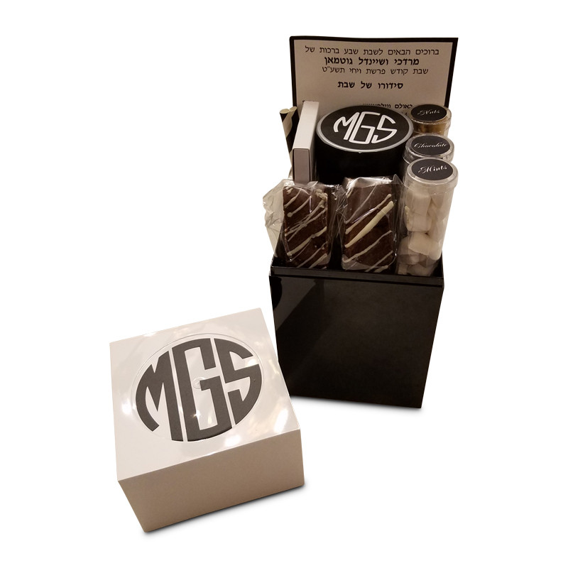 Monogrammed Black & White Acrylic Welcome Package