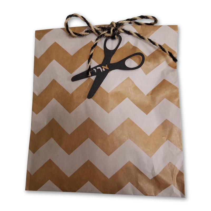 Kraft patterned bag with scissors tag and optional cord upsherin peckel