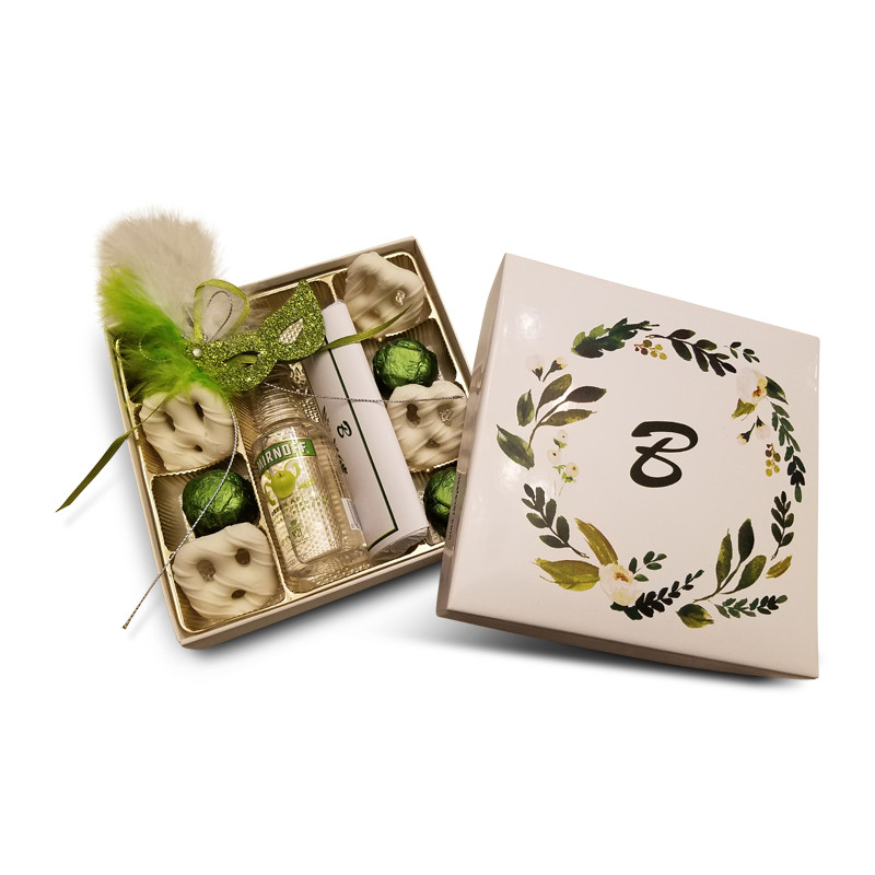 Floral Wreath Design Monogrammed Purim Box
