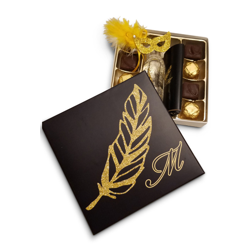 Black with Gold Feather Monogrammed Purim Box