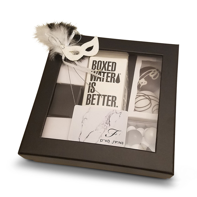 "Black Window Gift Box 7 3/4"" x 2 1/8"" with Label & Optional Mask (2x2 boxes sold below)"
