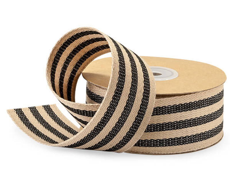 "Black and Kraft Burlap Striped Ribbon, 1-1/2""x10 yards"