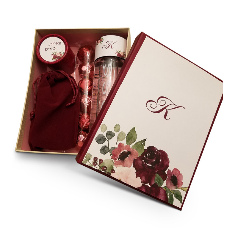 "Personalized Burgundy & Pink Floral Gift Box 8"" x 6 1/4"""