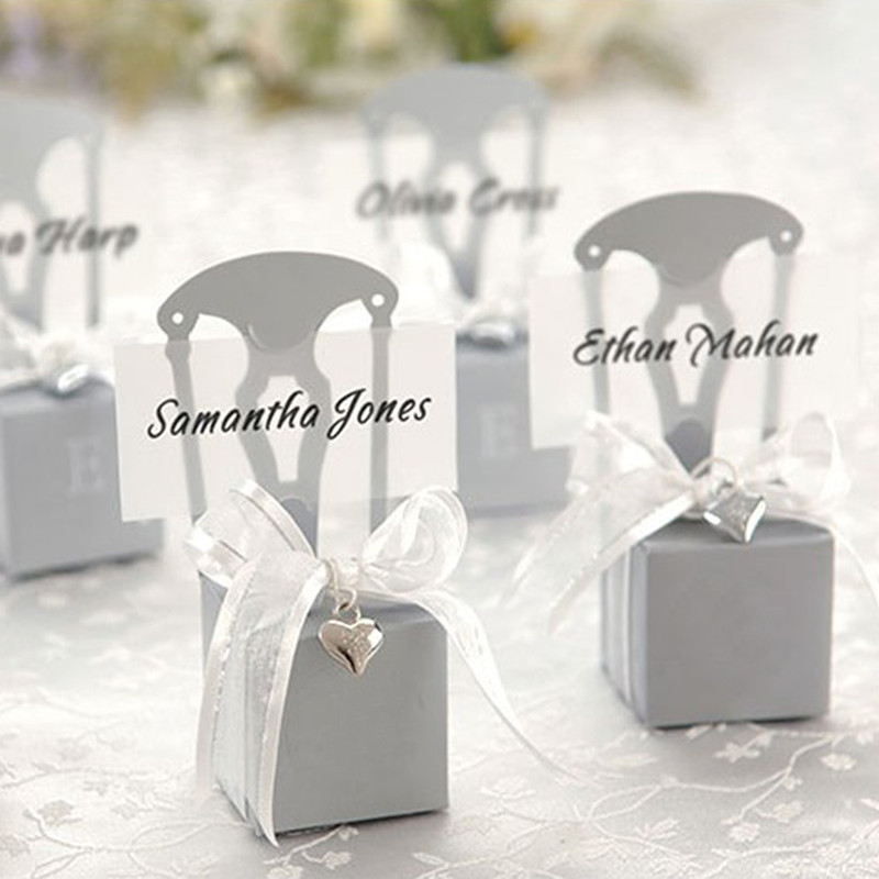 Miniature Silver Chair Favor Box with Heart Charm and Ribbon (Set of 19) (Can be Monogrammed)