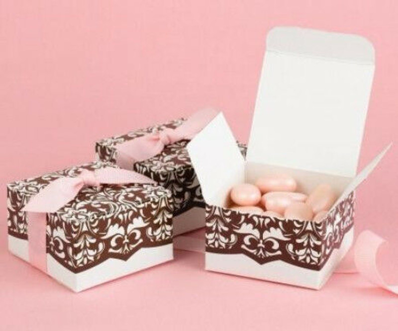 White & Brown Damask with Pink Ribbon Wedding Favor Boxes Lot of 25