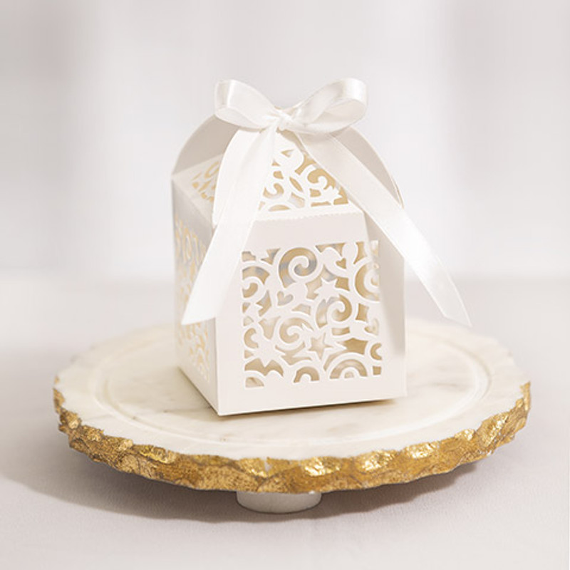 Cream Laser Cut Favor Box with Ribbon Tie, 12 pack