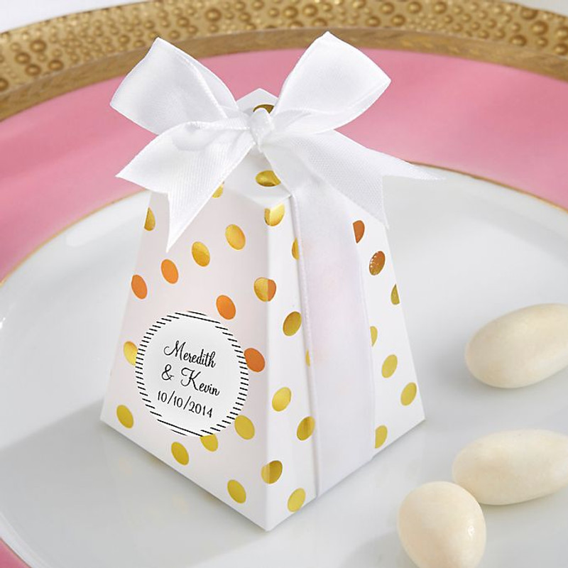 Confetti Favor Boxes in Gold Dot (Set of 12)