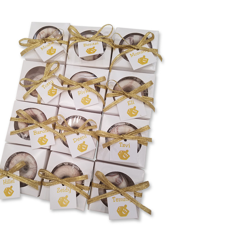 Mini Donut Favor Boxes with personalized tag and twine